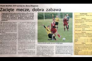 Artykuł w Strzelcu Opolskim (nr.29[729],16-22 lipca 2013) o XVII Turnieju Piłkarskim im. Bena Długosza w Rozmierce