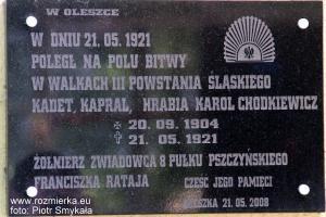 Pamiątkowa tablica na murze kaplicy w Oleszce poświęcona Karolowi Chodkiewiczowi