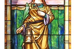Św. Barbara. Witraż w kościele Świętego Krzyża w Yorktown (Texas, USA).