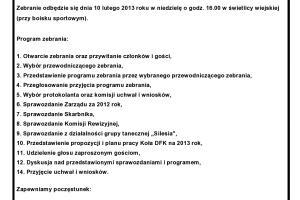 Zebranie sprawozdawcze DFK Rozmierka za 2012 rok